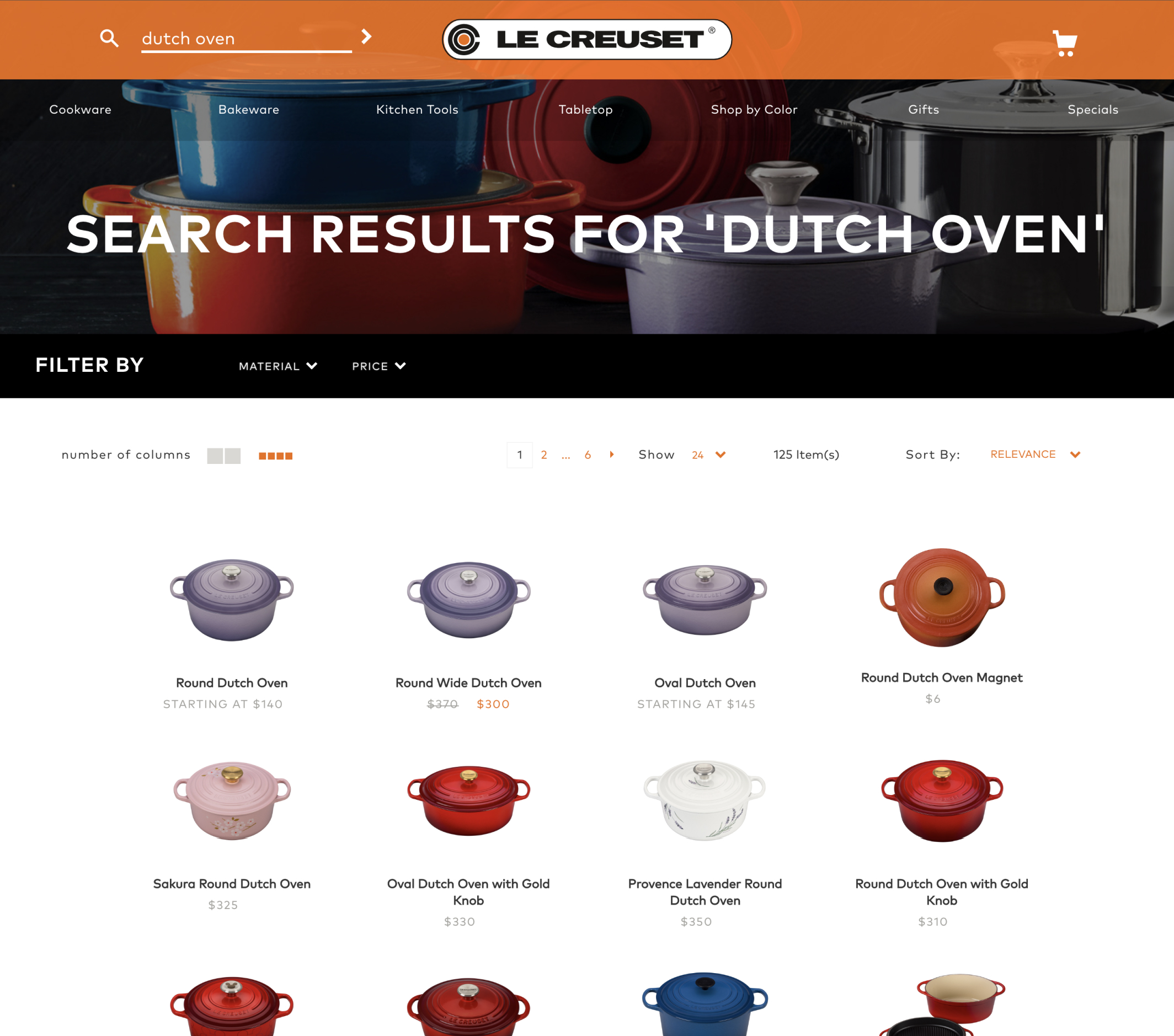 Le Creuset Shopify Search by Swiftype